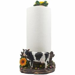 Decorative Holstein Cow Paper Towel Holder Display Stand wit