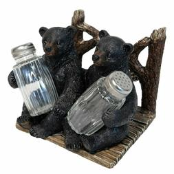 Decorative Side by Side Black Bear Salt and Pepper Shaker Na