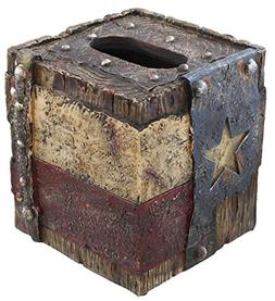Decorative Texas Lone Star Flag Rustic Square Tissue Box Cov