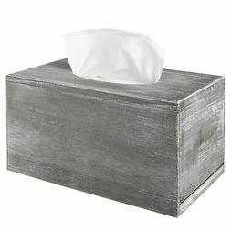 Distressed Gray Wood Facial Tissue Box Holder Cover, Napkin