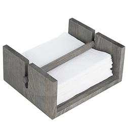 MyGift Distressed Gray Wood Napkin Holder with Center Bar We