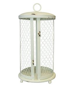 Distressed White Chicken Wire Paper Towel Holder, Standing D