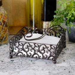 Elegant Napkin Holder , Pressed Metal Scroll Designed Dark B