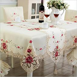 Embroidered Floral Lace Edge Dustproof Covers For Table Home