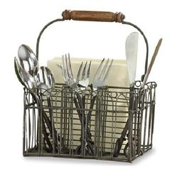 Farm Style Wire Utensil and Napkin Holder Caddy