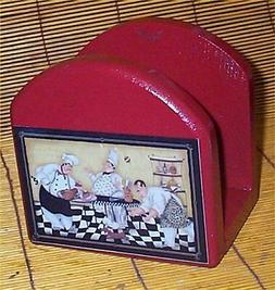 Fat Chef Solid Wood Napkin Holder Bistro Home decor R/B Wait