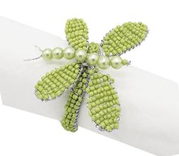 Fennco Styles Glass Beads Hand Beaded Butterfly Napkin Ring