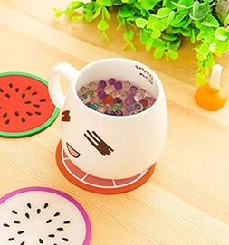 fruit coaster colorful silicone cup