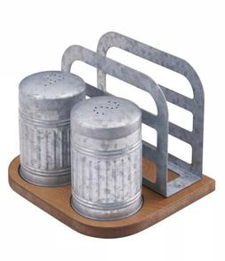 Galvanized Farm House Salt Pepper Shakers Napkin Holder Set