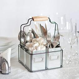 Kenley Galvanized Tin Caddy - Utensil Holder Organizer for K