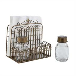Garden Gate Napkin Holder with Glass Jar Salt & Pepper Shake