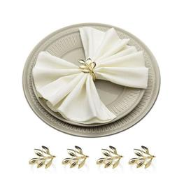 Gold Leaf Napkin Ring Handmade Serviette Buckle Holder Weddi