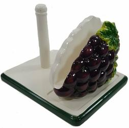 GRAPES Ceramic  PAPER TOWEL / NAPKIN HOLDER Handpainted Colo