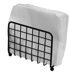 Home Basics Grid Design Napkin Holder, Black, 6x2.75x5.25 In