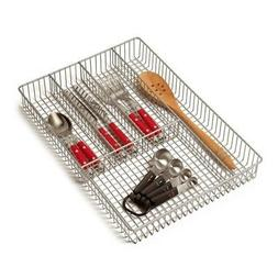 Spectrum Diversified Grid Silverware Tray, Large, Satin Nick