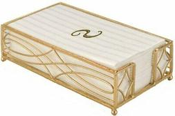 Boston International Guest Towel Caddy, Wave Design in Gold