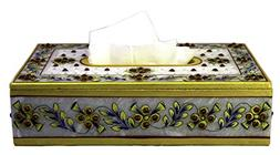 Handcrafted Decorative White Marble Tissue Box Cover Rectang