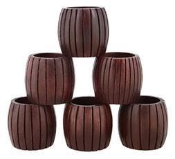 ShalinIndia Handcrafted Grooved Wood Napkin Rings Set of 6 f