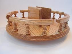 "Amish Handcrafted 14"" Lazy Susan with Napkin Holder Turn Tab"
