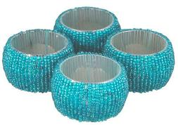 ShalinIndia Handmade Beaded Napkin Rings Set With 4 Turquois