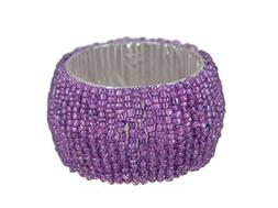 ShalinIndia Handmade Beaded Napkin Rings Set With 4 Purple G
