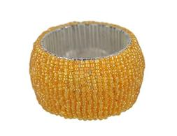 ShalinIndia Handmade Beaded Napkin Rings Set With 6 Amber Ye