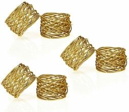 Handmade Gold Round Mesh Napkin Rings Set of 6 Holder for Di
