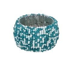 ShalinIndia Handmade Napkin Rings Set Of 4 Teal White Glass