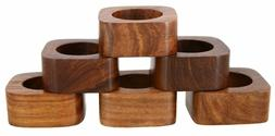 Handmade Party Decor Wooden Napkin Rings Set of 6 for Table