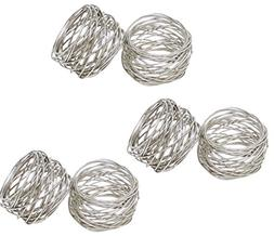 SKAVIJ Handmade Silver Napkin Rings Set of 6 Metal Mesh for