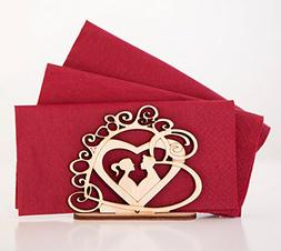 Heart Gift Napkin Holder Table Top Decoration Rustic Wedding