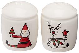 Pavilion Gift Company Holiday Hoopla Santa and Reindeer Cera