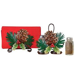 Holiday Pinecones Dining Table Accessory Set with Napkin Hol