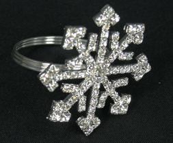 Set of 2 Holiday Rhinestone SNOWFLAKE Napkin Holder Rings
