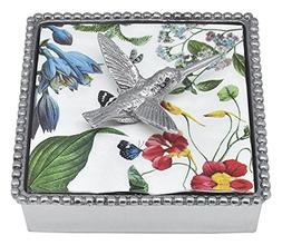 Mariposa 4021-C Hummingbird Beaded Napkin Box, One Size, Sil