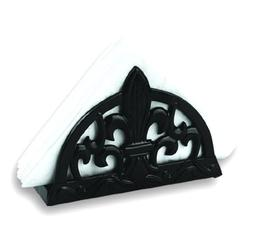 Old Dutch Jet Black Fleur De Lis Napkin Holder, 7-1/4 by 2-1