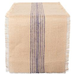 DII 14x72 Jute/Burlap Table Runner, Stripe French Blue - Per