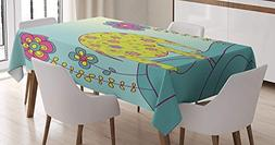 CHARMHOME Kids Cotton Linen Tablecloth, Dining Room Kitchen