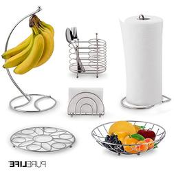 Kitchen Set 6pc | Fruit Basket, Banana Holder, Utensil Holde