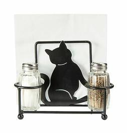 Kitty Cat Napkin Holder with Glass Salt and Pepper Shakers,