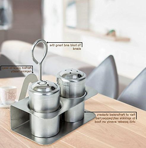 3-in-1 Pepper Stand with Holder | Salt Dispenser with Stand | Shaker