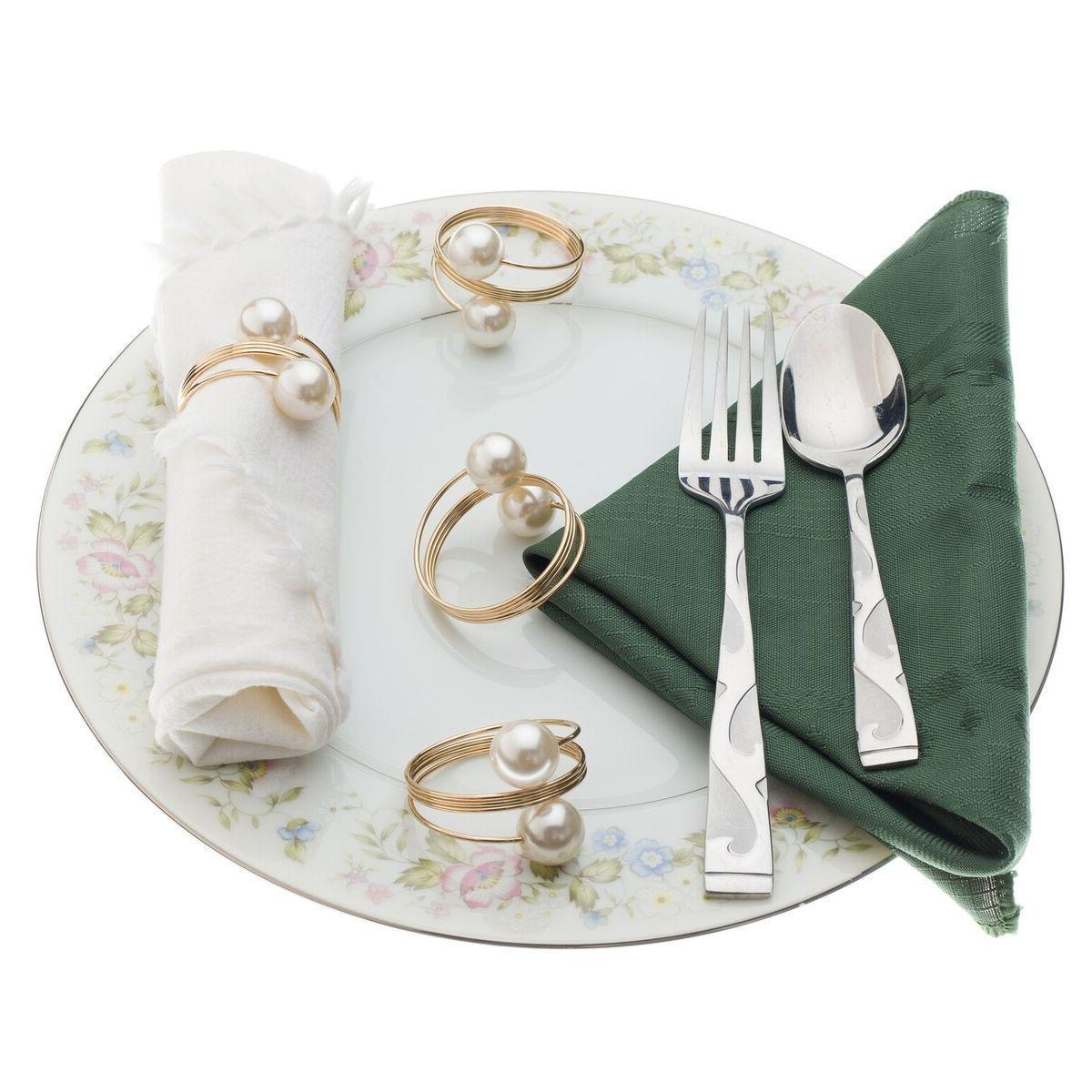 12X Exquisite Pearl Napkin Ring Handmade Serviette Buckle Ho