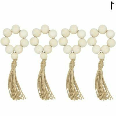 4Pcs Bead Napkin Rings Weddings Home Table Decor Good