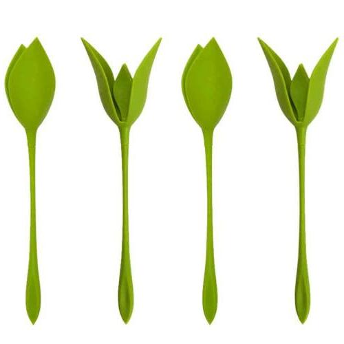 12pcs bloom napkin holders table green twist