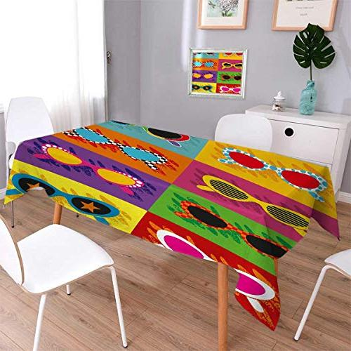 70s party oblong printed tablecloth