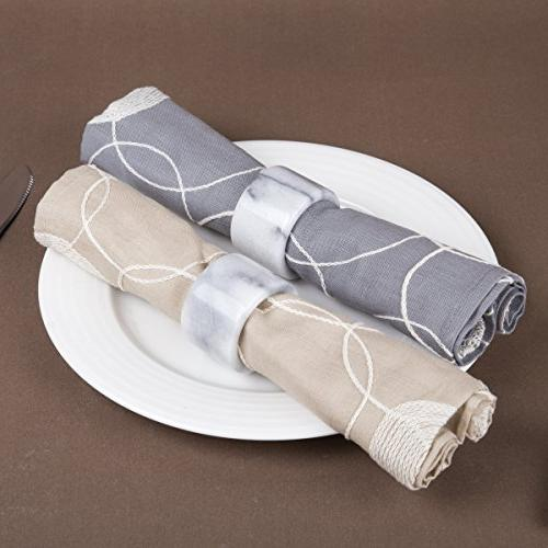"""Creative Natural White 4 Holder for Table Settings, Dinner Parties, Events, 1.8"""" x H"""