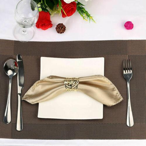 8PCS Metal Wedding Party Napkin Holder Rings Rose Serviette