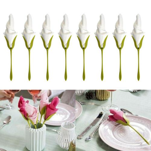 8x Bloom Flower Paper Napkin Holder Bracket Table Twist Decor