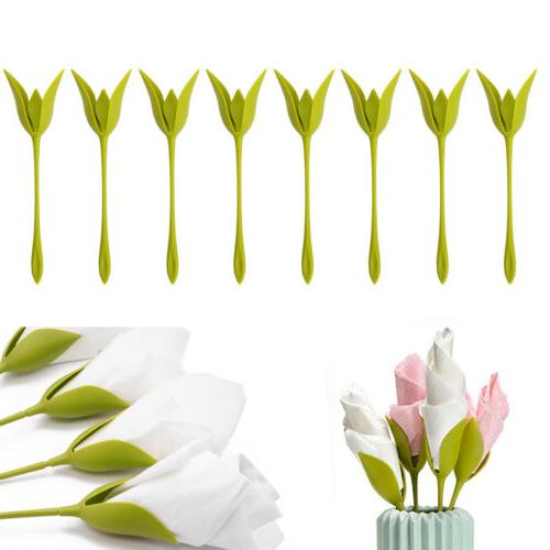 8x Bloom Flower Napkin Holder Twist Serviette Decor Plastic