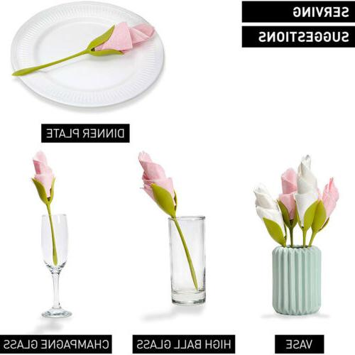 8x Bloom Napkin Bracket Twist Decor
